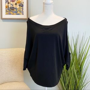 Poof Stretchy Black Open Side Sleeve Top
